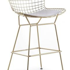 Mid Century Modern Side Chair Home Office Bertoia Wire Counter Stool In Gold Finish - Bar & Stools