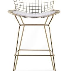 White Bertoia Side Chair Neck Support For Office India Wire Counter Stool In Gold Finish - Bar & Stools