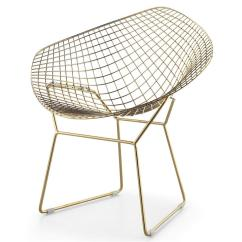 White Bertoia Side Chair Reclining Patio Chairs Wire Diamond Gold Plated Finish - Modernselections.com