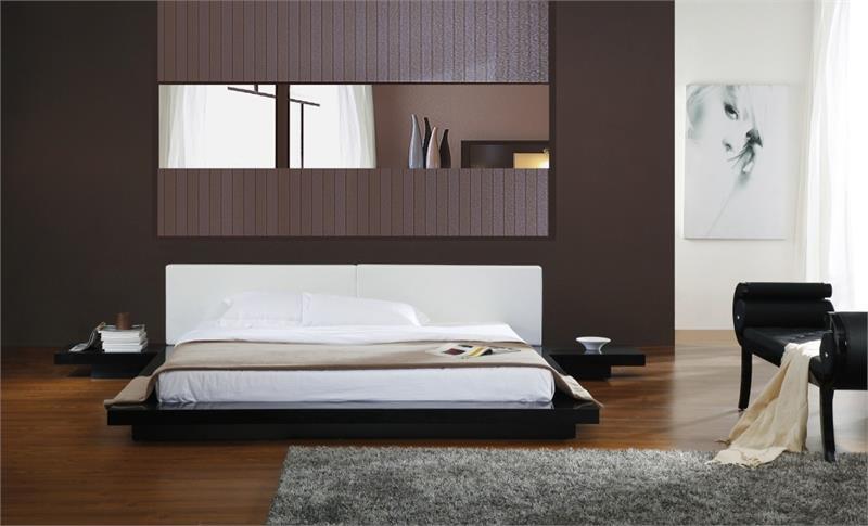 Japanese Style Platform Bed Frame Wenge Walnut Black Glossy Finish Free Shipping
