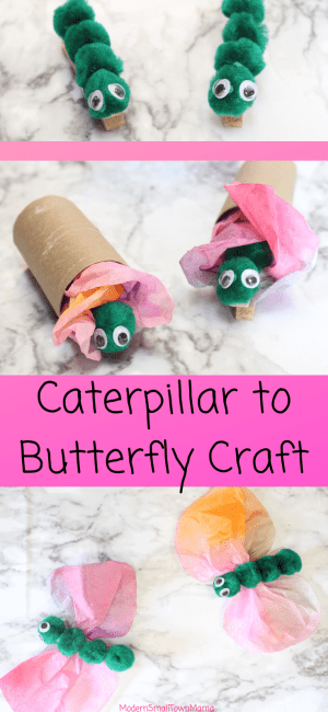 Caterpillars to Butterflies Craft #preschool #craft #butterflies