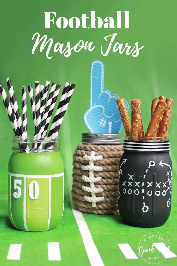 "These DIY Football Mason Jars make great gifts! They're super cute centerpieces or table decor for your football season get togethers, and the kids will get a kick out of them too!""width="
