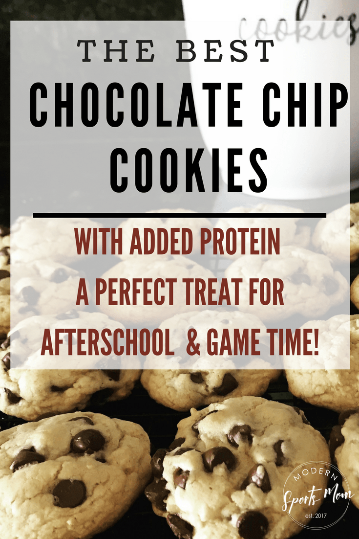 The Best Chocolate Chip Cookie recipe! These easy to make, chewy and all-around delicious cookies have a healthy protein twist. They are perfect for after school, or before your kid's games!