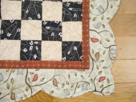 Love the bird print; note the organic quilting