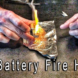 AA Battery Fire Hack - Worst Case Fire Starter