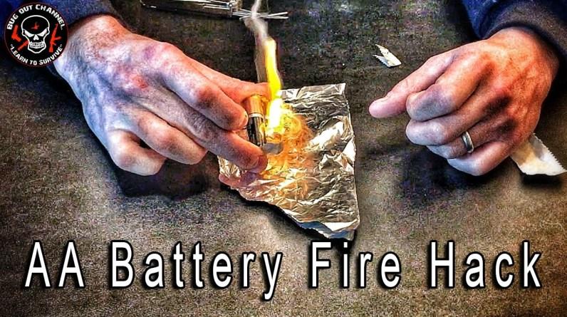 AA Battery Fire Hack - Worst Case Fire Starter