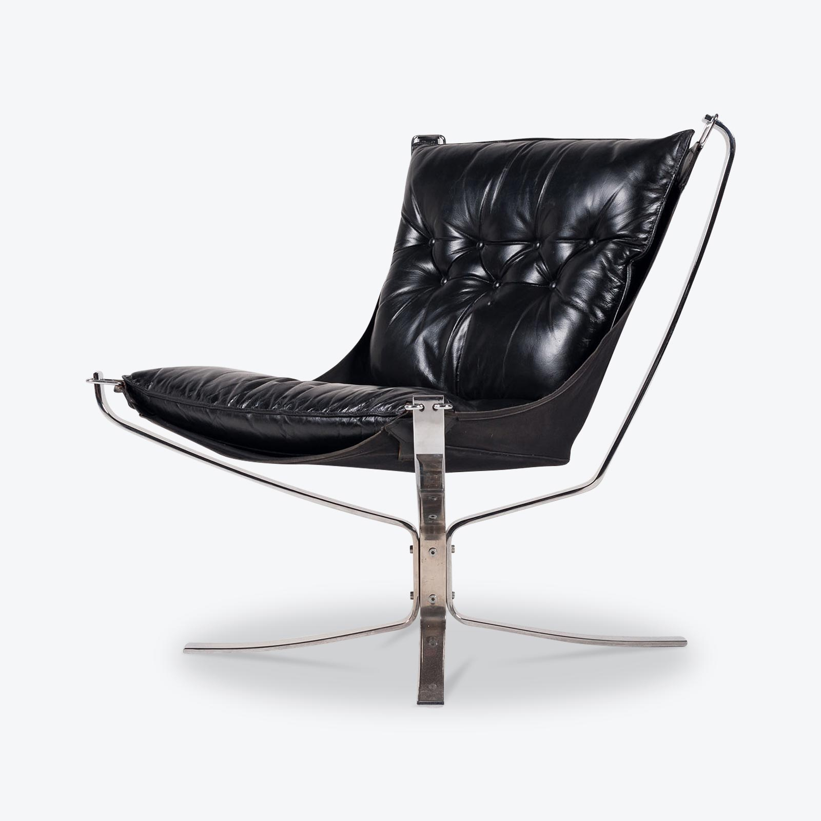 Falcon Chair Low Back Falcon Armchair By Sigurd Ressell For Vatne Mobler In Black Leather With Chrome Frame 1960s Norway