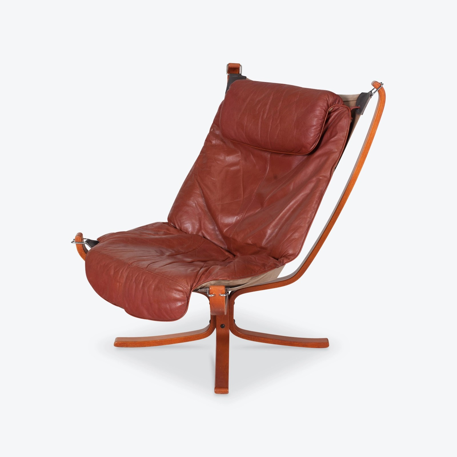 Falcon Chair High Back Falcon Armchair By Sigurd Ressell For Vatne Mobler In Patinated Cognac Leather 1970s Norway