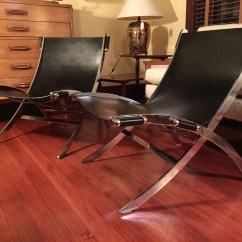 Leather Sling Chairs Accent With Wood Arms Sold And Chrome Paul Tuttle Style