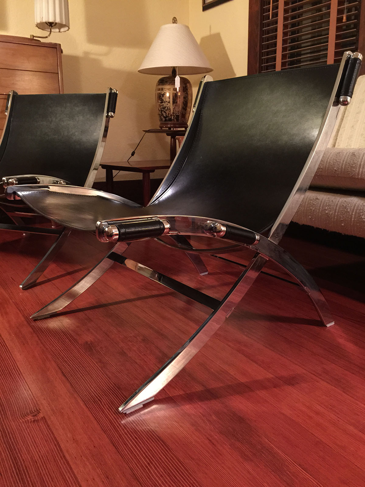 leather chair modern lounge outdoor target sold - & chrome paul tuttle style sling chairs to vintage