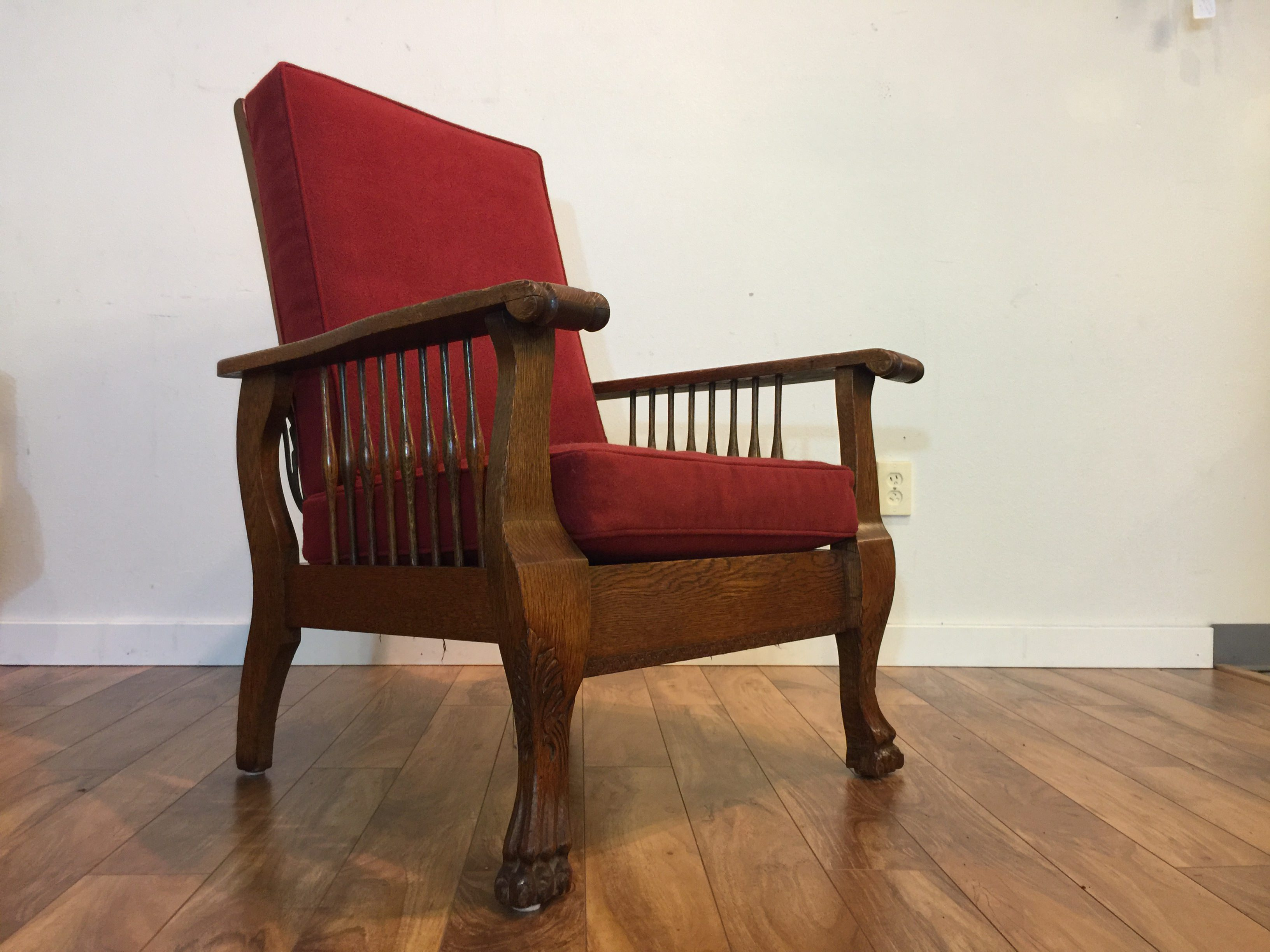 SOLD  Antique Tiger Oak Morris Chair Newly Upholstered