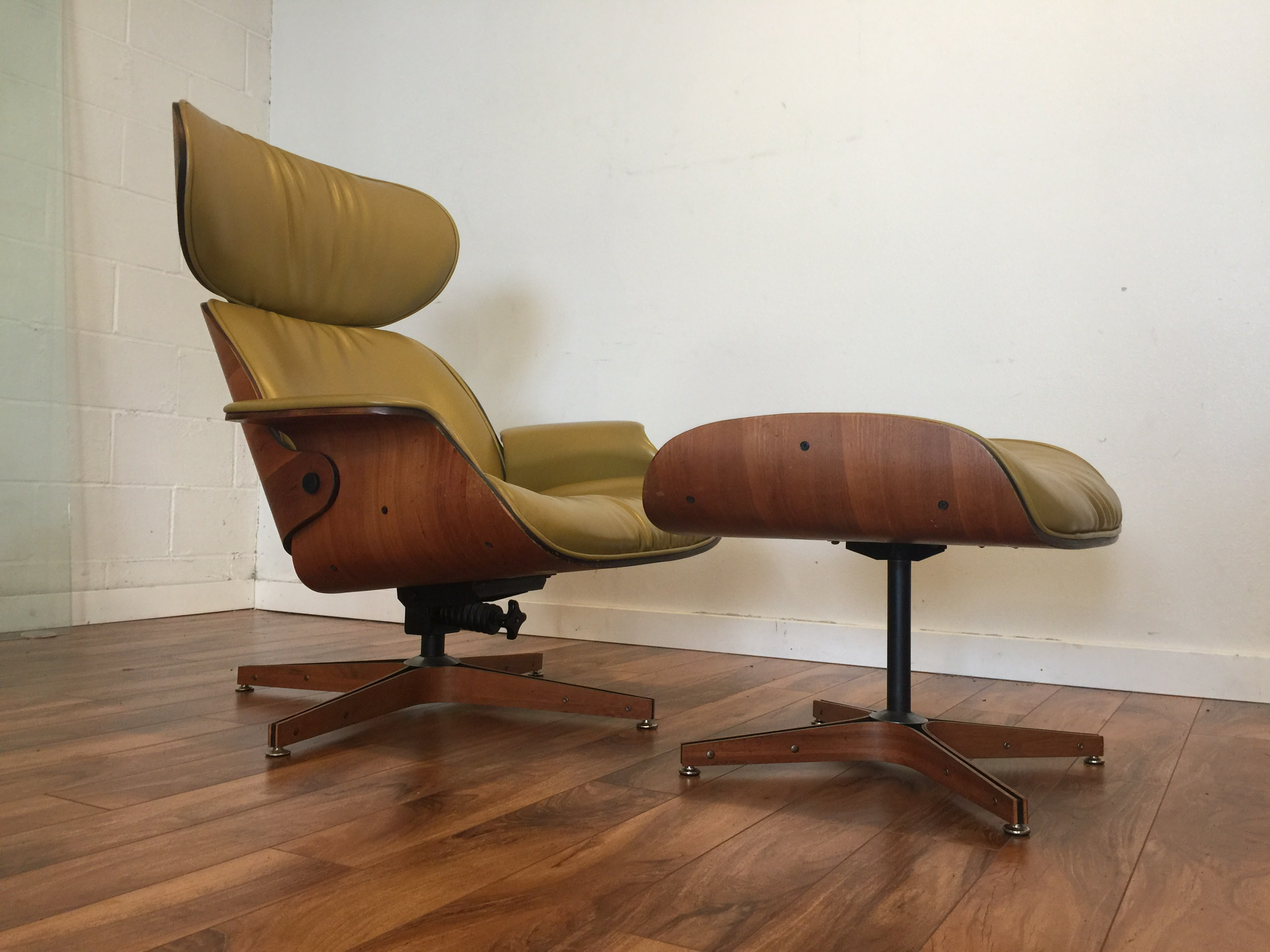 portfolio chair and ottoman reclining with canada sold plycraft mid century lounge
