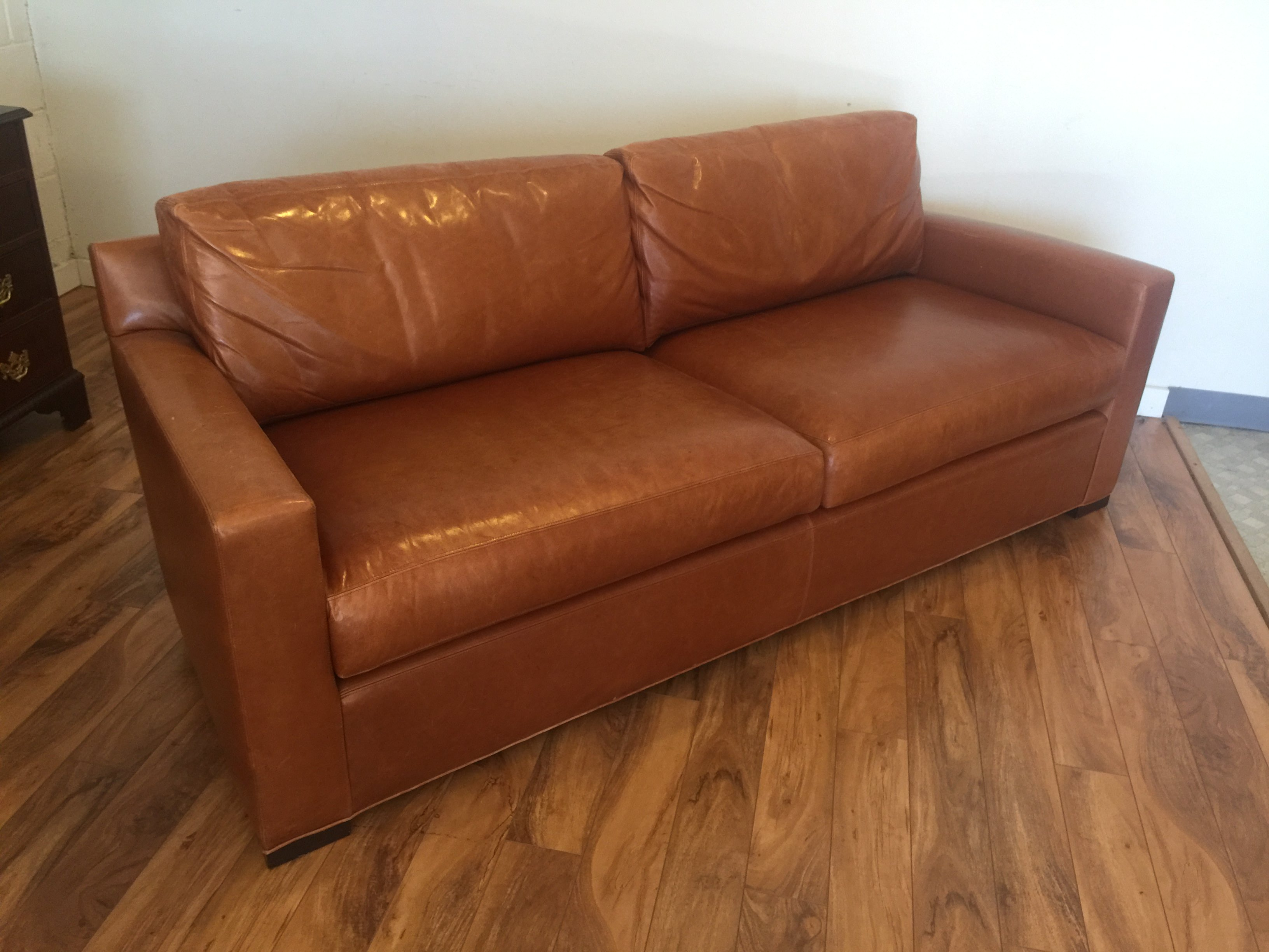 SOLD  Baker Furniture  Coach Leather Sofa  Modern to