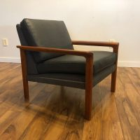 Vintage Scandinavian Teak & Leather Lounge Chair