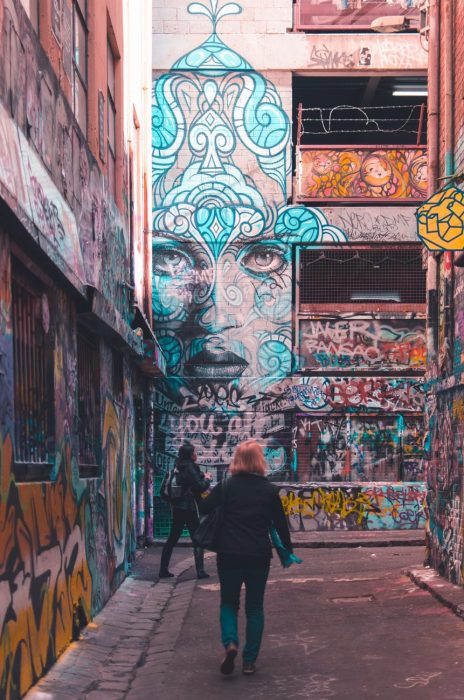Street art on Hosier Lane in Melbourne, Australia