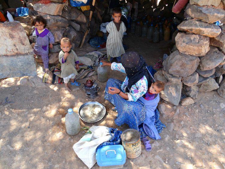 A family of nomads near Erg Chigaga