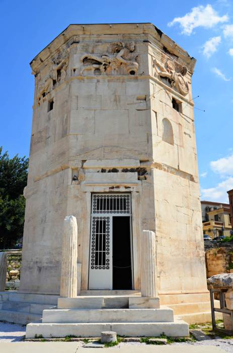 The Tower of the Winds in the Roman Agora in Athens.