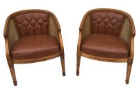 Caned Barrel Chairs, Pair - Modern Vintage Mix