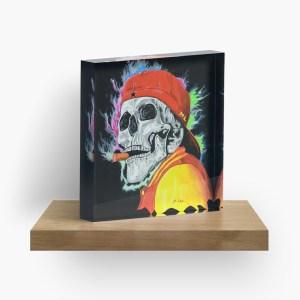 Skull – One last cigar_ Acrylic Block by mikeylee (3)