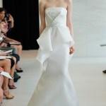 Strapless white triplex gazar gown with hand embroidered sequin detail