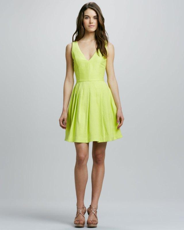 Halston-Heritage-V-Neck-Full-Skirt-Dress