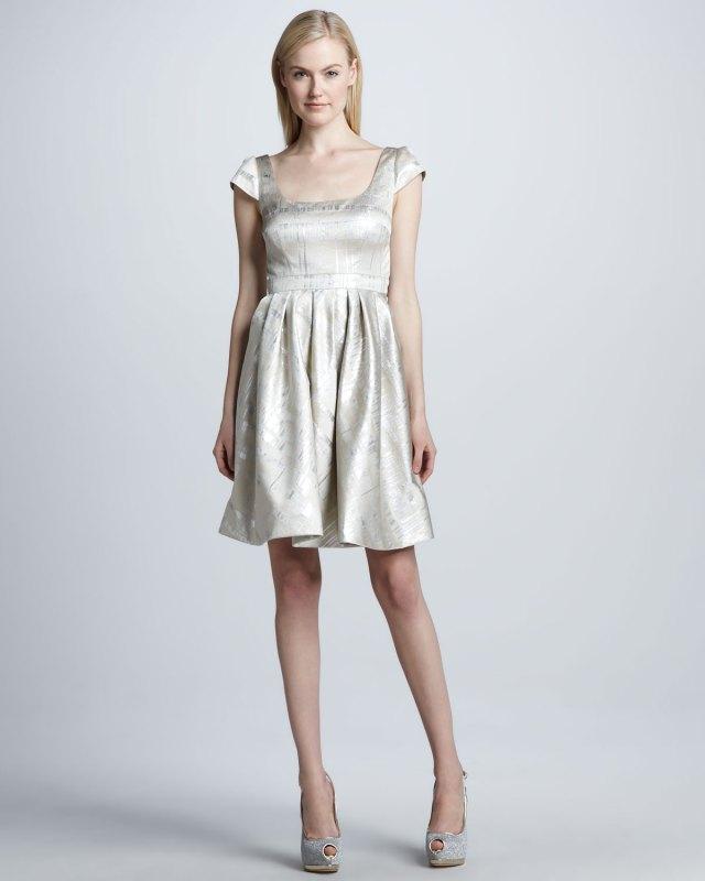 -Metallic-Cap-Sleeve-Cocktail-Dress