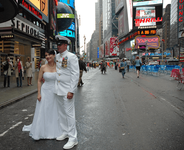 bride and sailor times square