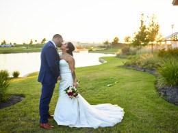 red lakeside wedding