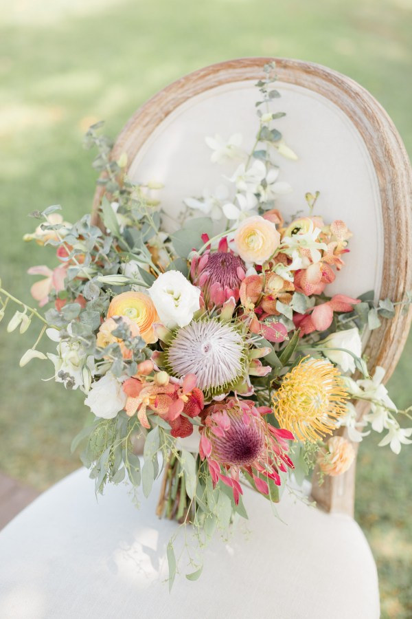 colorful oceanfront wedding