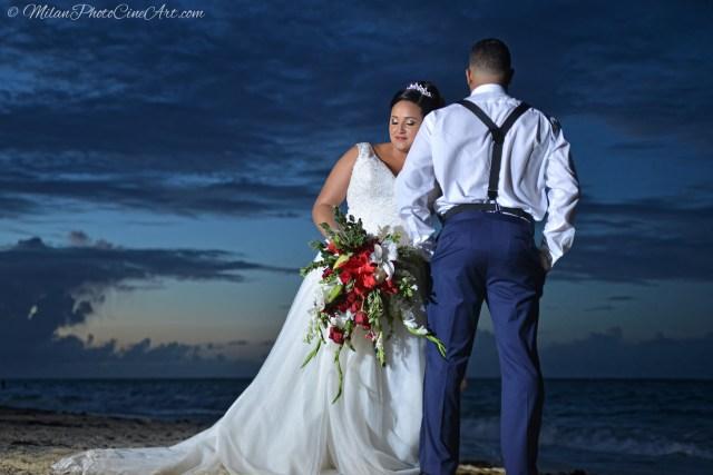 red beach wedding