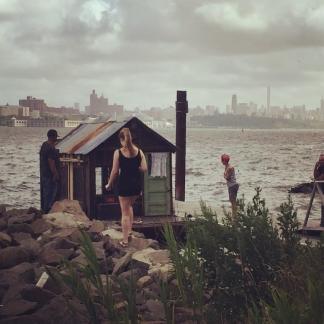 Shantyboat prepares to launch on the Hudson River in NYC