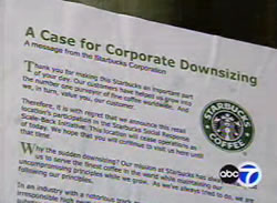 Adventure Club wheatpasted Starbucks stores all over San Francisco that claimed they had closed the stores as part of their Corporate Responsibility Initiative