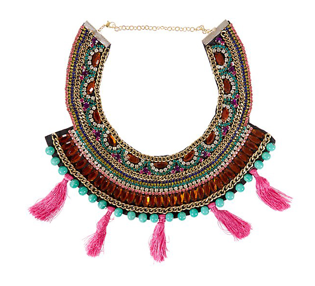 http://www.newlook.com/shop/womens/jewellery-and-hair-accessories/green-diamante-embellished-tassel-bib-necklace_308679199?isRecent=true