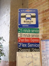 This sign from Salt Lake City, Utah shows how frequency of service can be shown to riders.