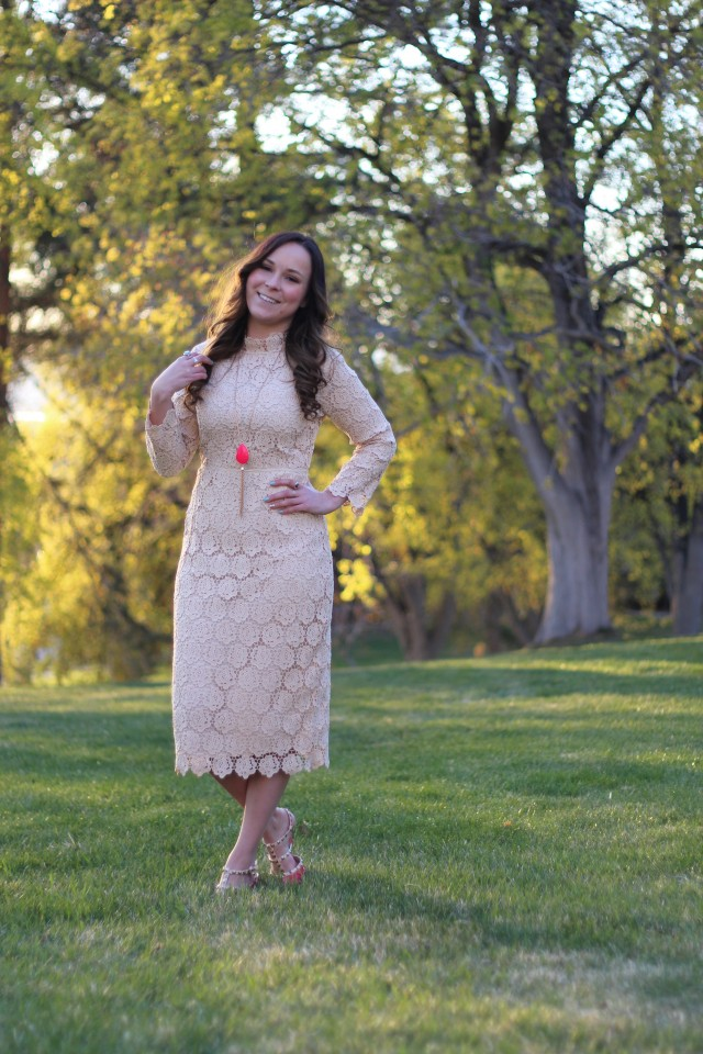 Cream Lace Dress 8