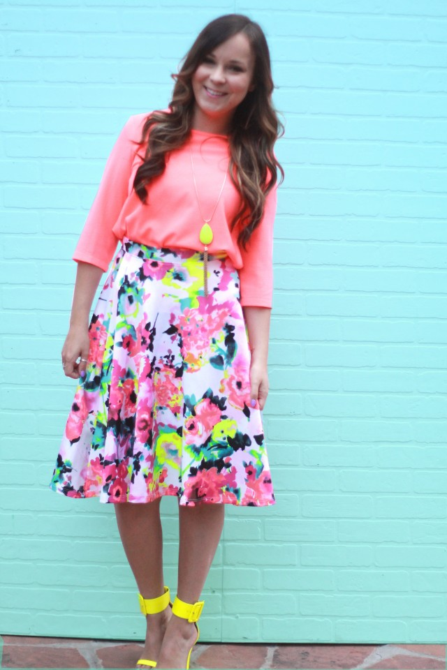 neon floral skirt 4