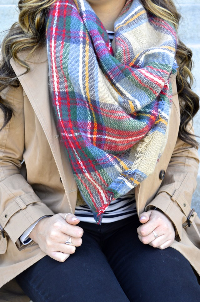 Oversized plaid blanket scarf for fall!