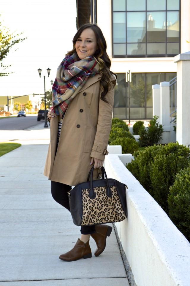 Fall fashion 2015 - Plaid blanket scarf, trench coat, leopard print bag!