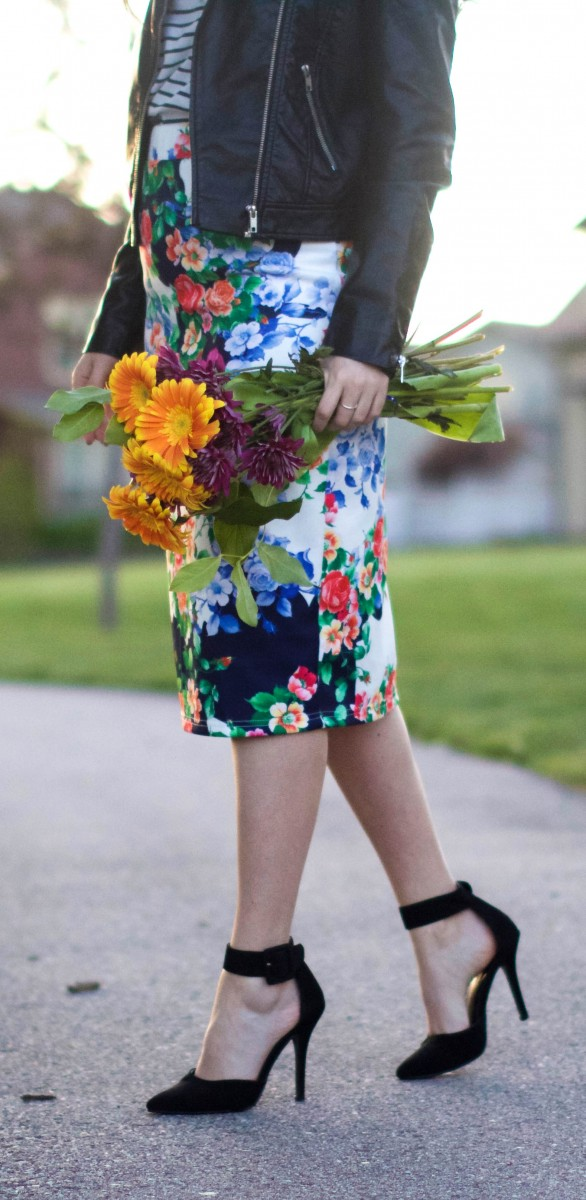 Modest floral pencil skirt