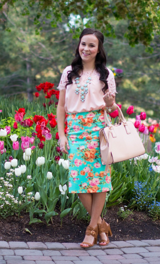 Mint Floral Pencil Skirt (2 of 6)