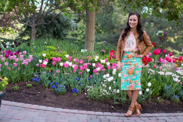 mint floral pencil skirt (6 of 19)
