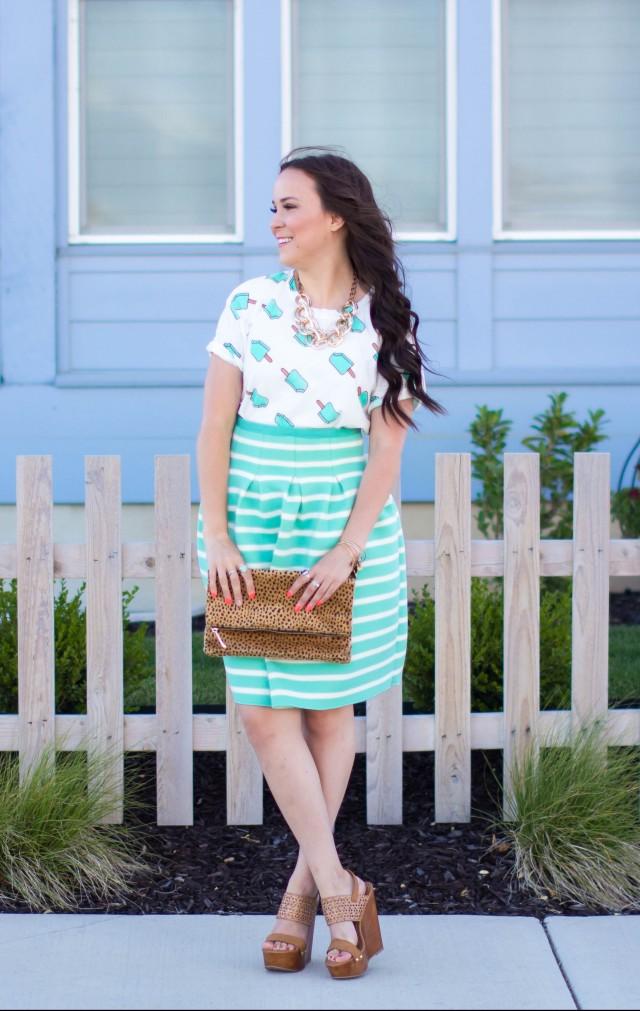 Mint Striped Skirt Neesees Dresses (6 of 27)
