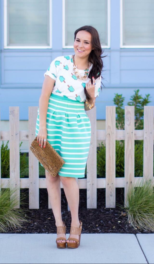 Mint Striped Skirt Neesees Dresses (9 of 27)