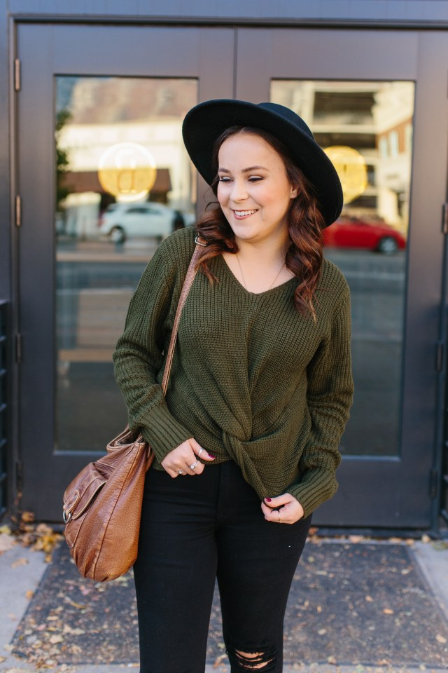 Cute chunky twist front sweater