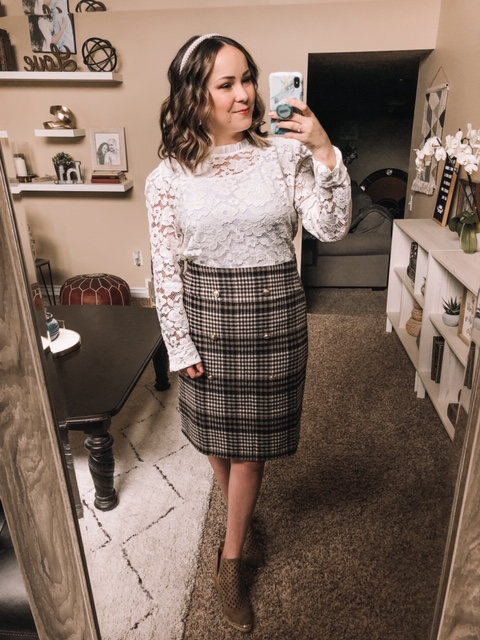 Shein Review Try On Lace top plaid skirt