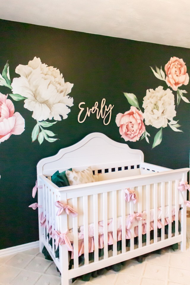 Green and floral nursery baby