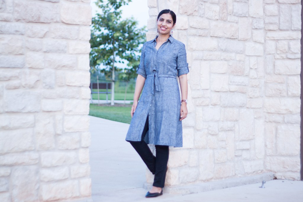 blue shirt dress over black jeans
