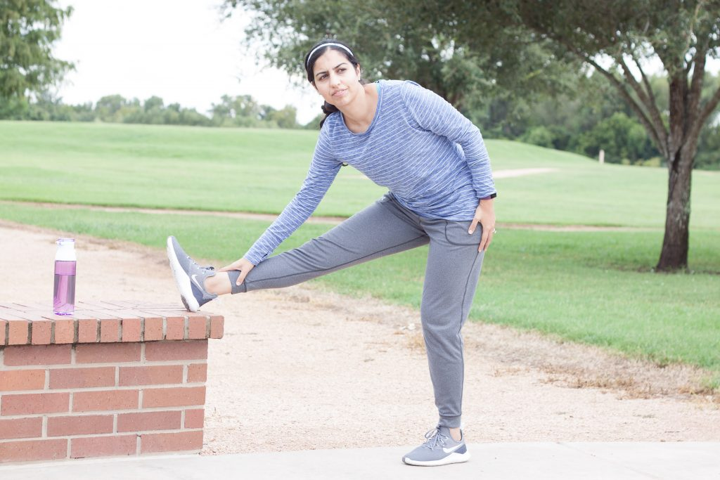 modest workout clothes striped shirt and joggers