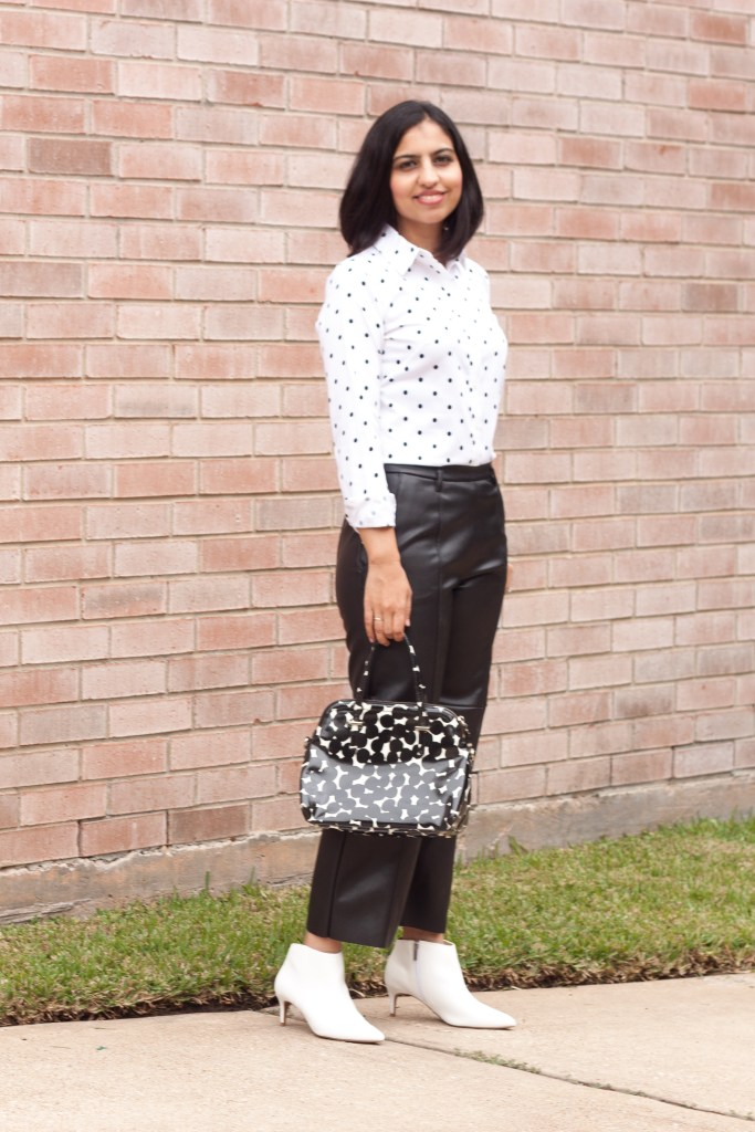 leather outfit ideas black leather pants polka dot pants