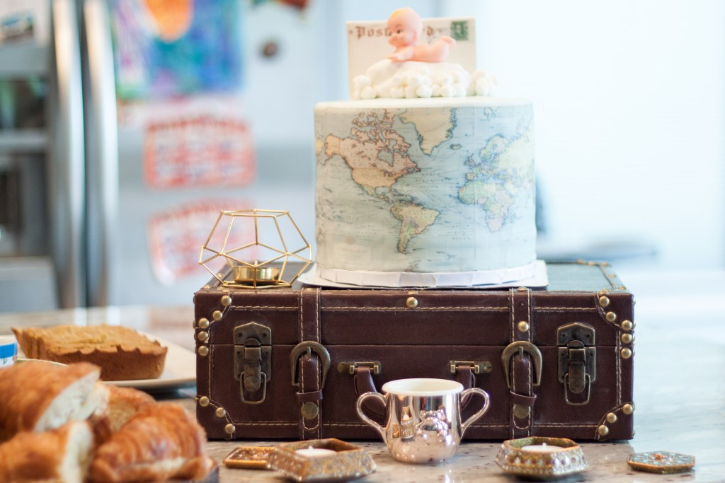 travel theme baby shower cake